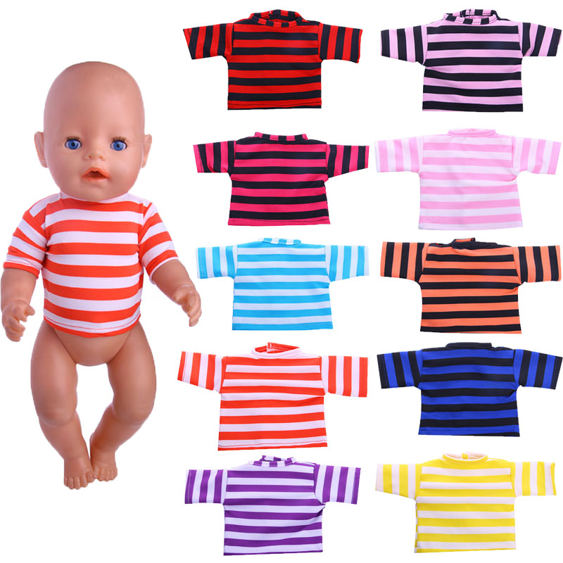 Stylish and casual tie-dye striped short-sleeved T shirt to choos for 43cm Baby Born zapf Doll, Children the best Christmas gift