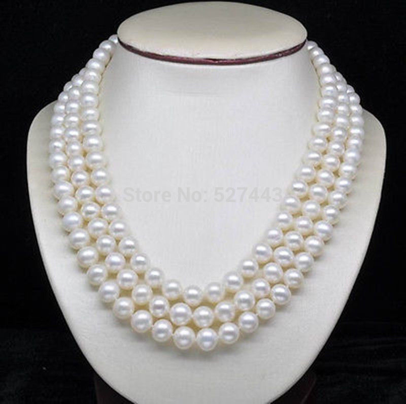 Gros rapide naturel trois brins 6 - 7 MM AAA White Pearl colliers ( 16