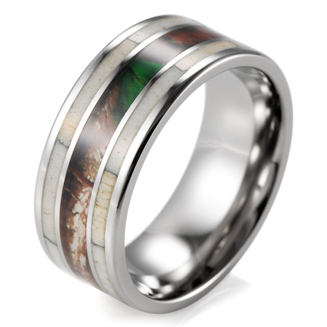 Unique Men's Camo Wedding Band with Real Antler Titanium Outdoor Hunting Ring for men male jewelry engagement wedding ring band