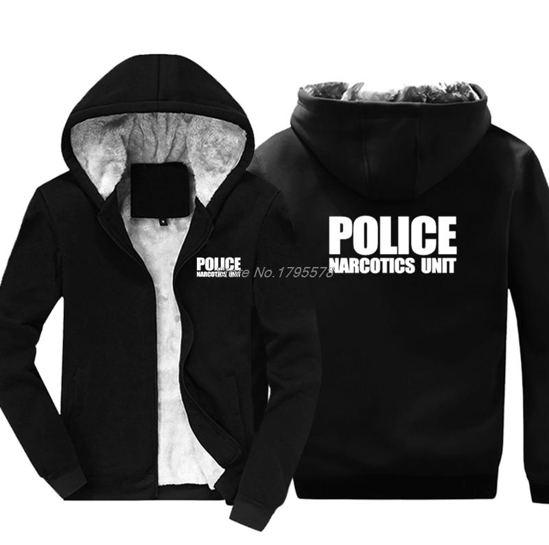 Fashion Casual Men Thicken Hoodie Police Unit Law Enforcement Drugs Front & Back Print Sweatshirt Hip Hop Jacket Tops Harajuku-in Hoodies & Sweatshirts from Men's Clothing    1