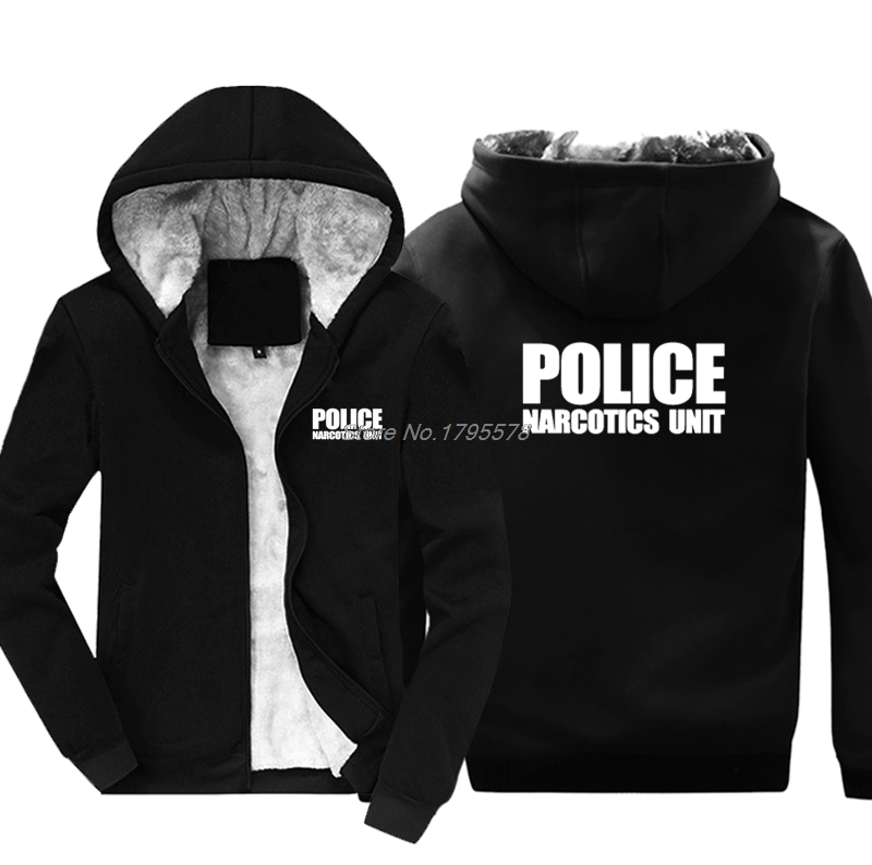 Moda na co dzień mężczyźni zagęścić bluza z kapturem jednostki policji w zakresie egzekwowania prawa leki z przodu i tyłu druku bluza Hip Hop kurtka topy Harajuku w Bluzy z kapturem i bluzy od Odzież męska na AliExpress - 11.11_Double 11Singles' Day 1