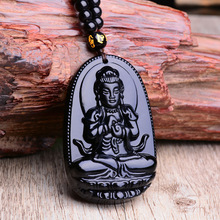 Natural Stone Black Obsidian Carved Buddha Lucky Amulet Pendant Necklace Fine Jewelry for Women Men Sweater chain Pendants 2019