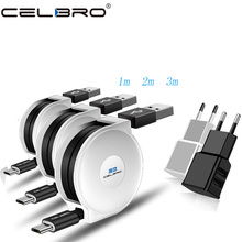 1/2/3 metros retráctil de Cable plano Micro USB Cable Micro Usb 2m 3m carga de Android Cable de Cable para Xiaomi Redmi 7 7A Nota 5 4 Pro