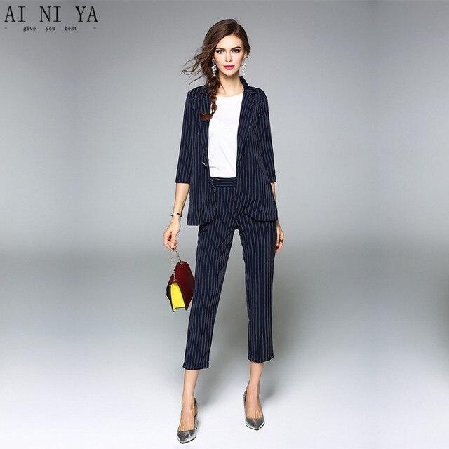 Jacket+Pants Women Business Suits Formal Office Uniform Styles Navy Blue Striped Ladies Elegant ...