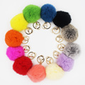 Wholesale 12pcs Real Rabbit Fur 8cm Pom pom Ball Gold Plated Hardware Keychain Key Ring Mobile Car Strap