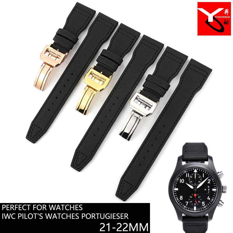 21mm 22mm Italian Cowhide Watch Strap Folding Buckle Long short Style Leather Watchband Suitable for IWC Series Watch Accessorie