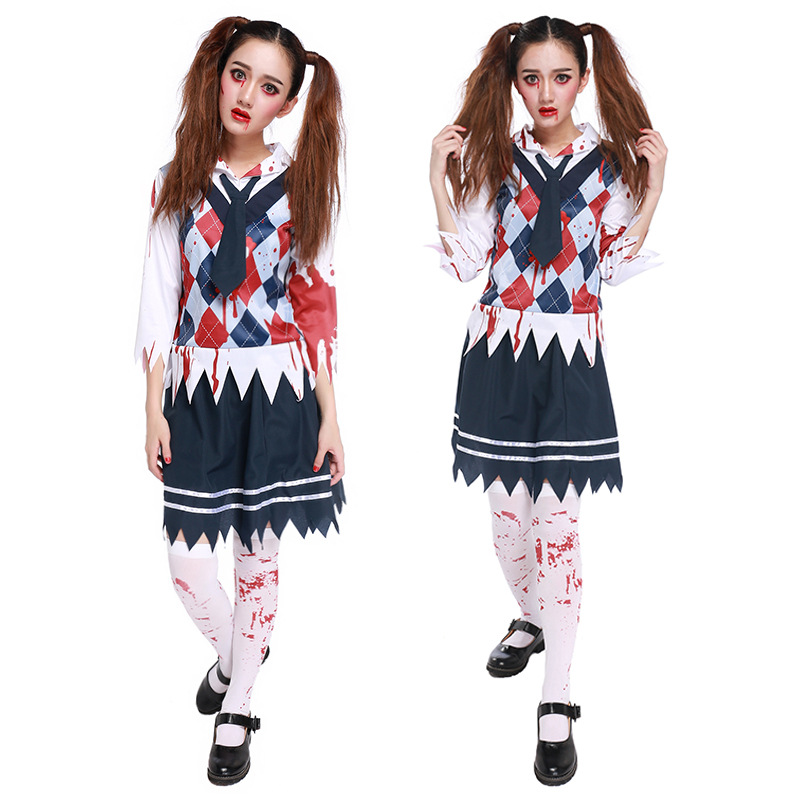 Clever School Girl: Halloween Horror Bloody School Uniform Creative Girls