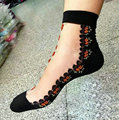 Las ventas calientes colorida ultrafino transparente cristalina hermosa de encaje elástico corta mujer Calcetines Calcetines Calcetines de color rosa para las mujeres meias