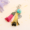 New tassel borla love keychain llaveros acrylic resin beads ball leather tassels best gift keychain chaveiro