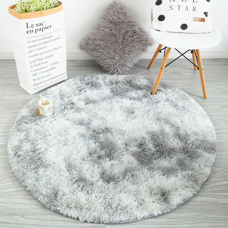 New Arrival Round Carpet Bedroom Bedside Mat Nordic Home Thickening Blanket Cloakroom Gradient Rug Non-slip Thickening Carpet
