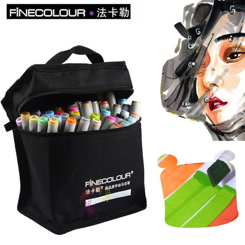 цена FINECOLOUR Art Supplies Sketch Markers Pen 36/48/60/72 Colors Markers Set Dual Head Alcohol Based Manga Markers Design онлайн в 2017 году