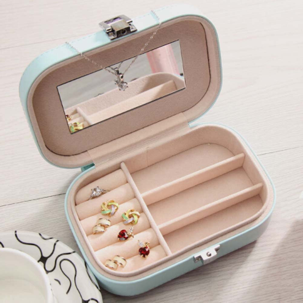 Assorted Colors PU Leather Portable Jewelry Earrings Rings Necklace Bracelet Hair Clip Storage Box Jewelery Case Organizer