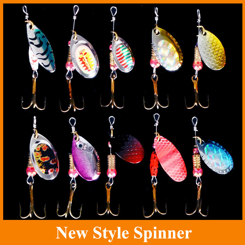 5pcs spinner  Metal Lures Fishing Lures Hard Bait Fresh Water Bass Walleye Crappie Minnow Fishing Tackle SP120SX302