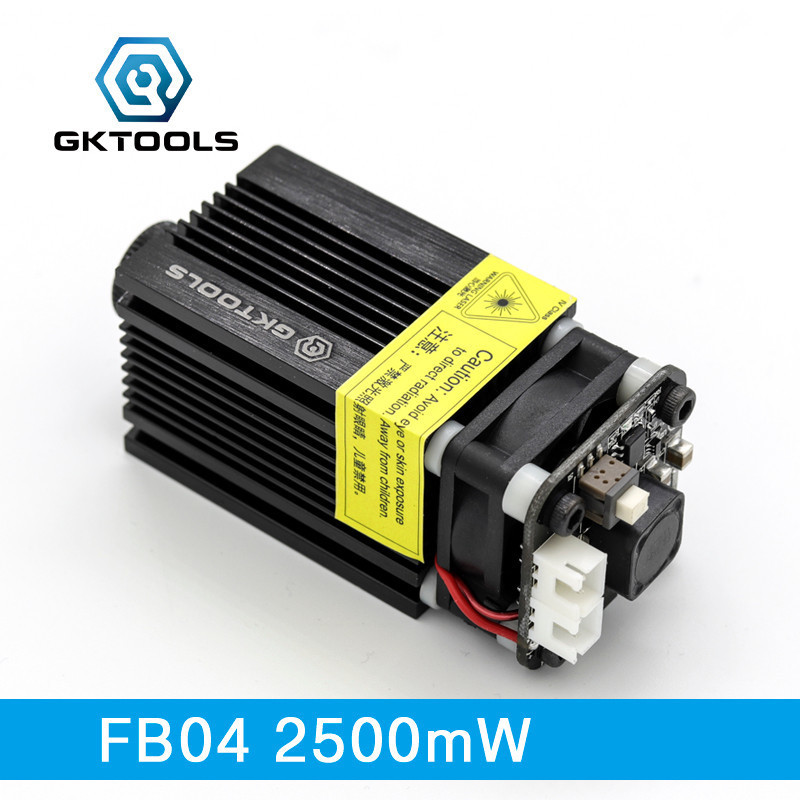 GKTOOLS 445nm 2500mW 12V Laser Module DIY CNC Engraver Wood Cutting Machine Support TTL/PWM Power Adjustable Focusable FB042500