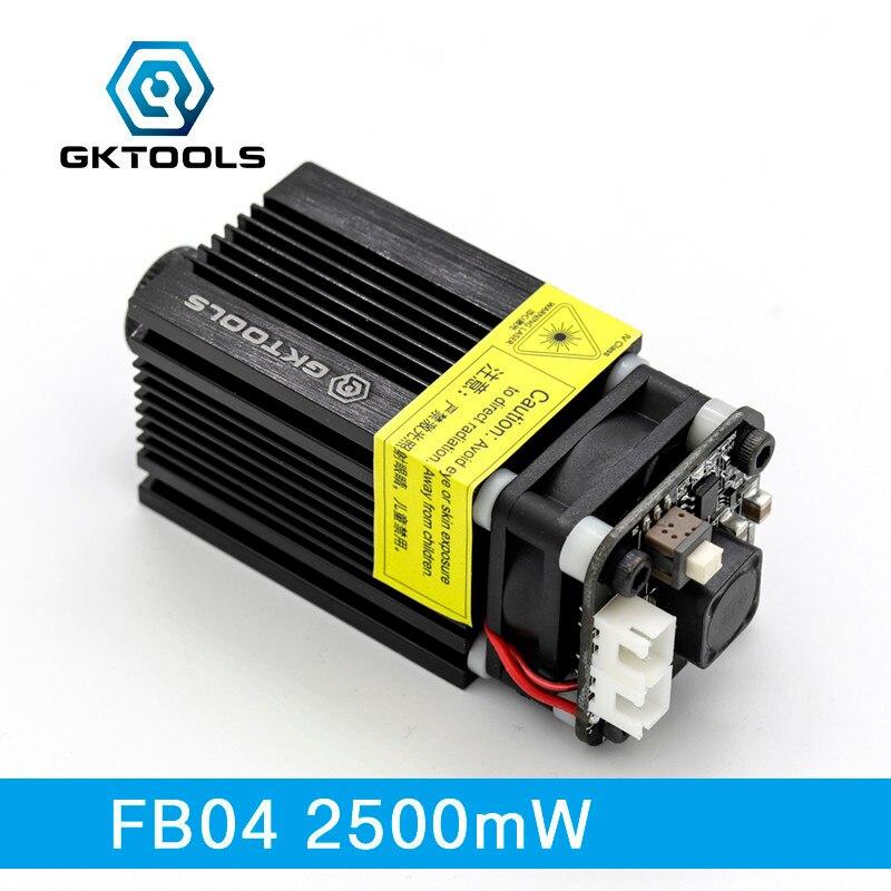 GKTOOLS 445nm 2500mW 12V Laser Module DIY CNC Engraver Wood Cutting Machine Support TTL/PWM Power Adjustable Focusable FB042500