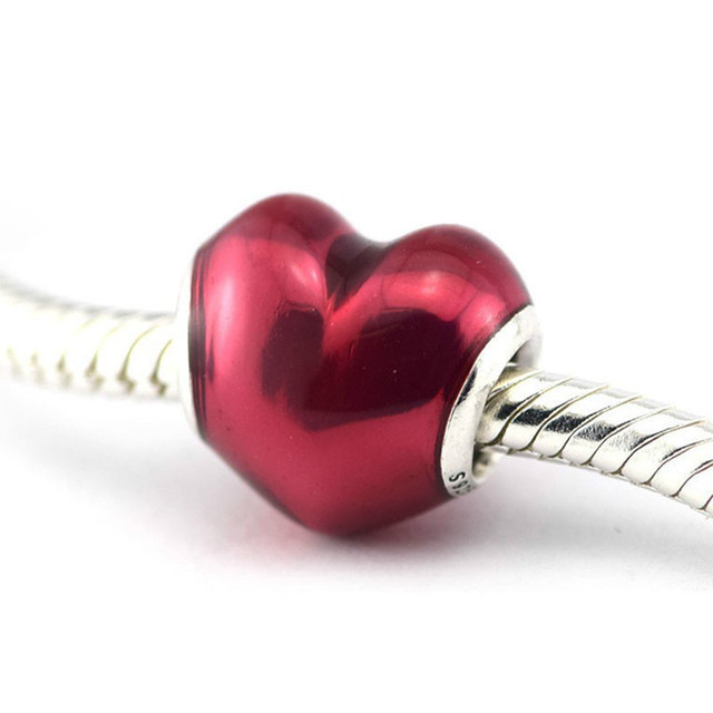 f6235f903 Authentic 925 Sterling Silver In My Heart Fuschia Enamel Charms Fit  Original Pandora Charms Bracelet Women European jewelry