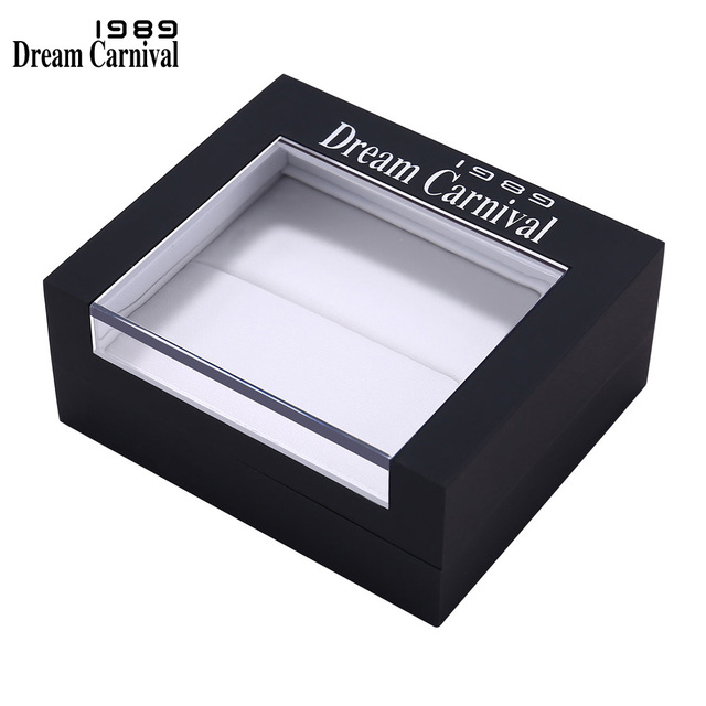 DreamCarnival 1989 Deluxe Black Gift Box for Pendant Necklaces Ring Earrings Bracelet UV Coating Transparent Window High Quality