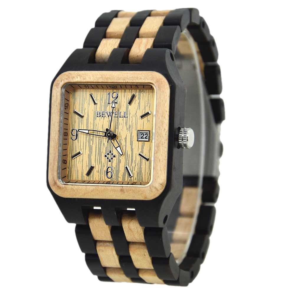 BEWELL Top Luxury Men Watches Square Face Wooden Strap Date Display Waterproof Wooden Watch Limited Edition Quartz Clock 111A все цены