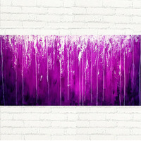 100% Handpainted canvas art abstract purple color oil painting wall art for home office deocration