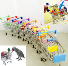 Wholesale New Colorful Funny Mini Supermarket Shopping Cart Trolley Pet Bird Parrot Hamster Toy(China)