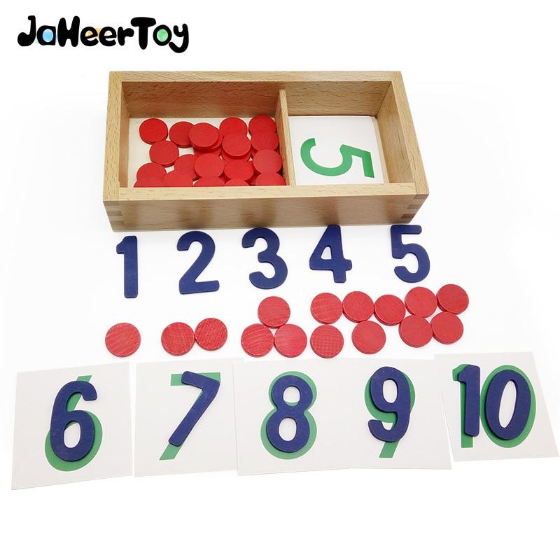 JaheerToy 카운터 및 번호 1-10 디지털 인식 Montessori 교육 장난감 어린이를위한 나무 장난감 3-4-5-6 년
