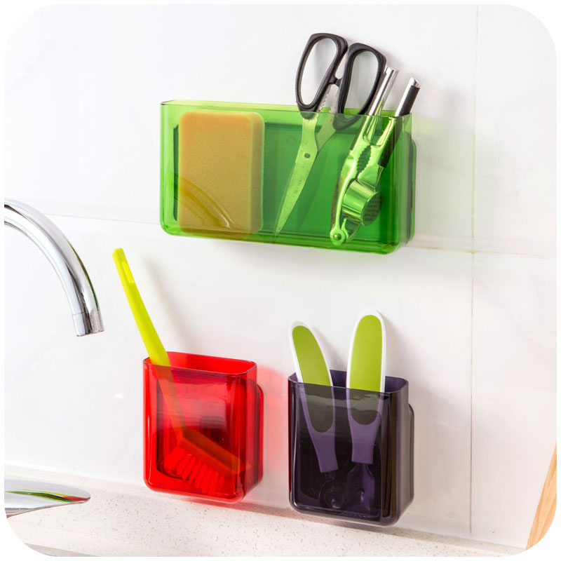 Plastic Self Adhesive Toothbrush Holder Kitchen Storage