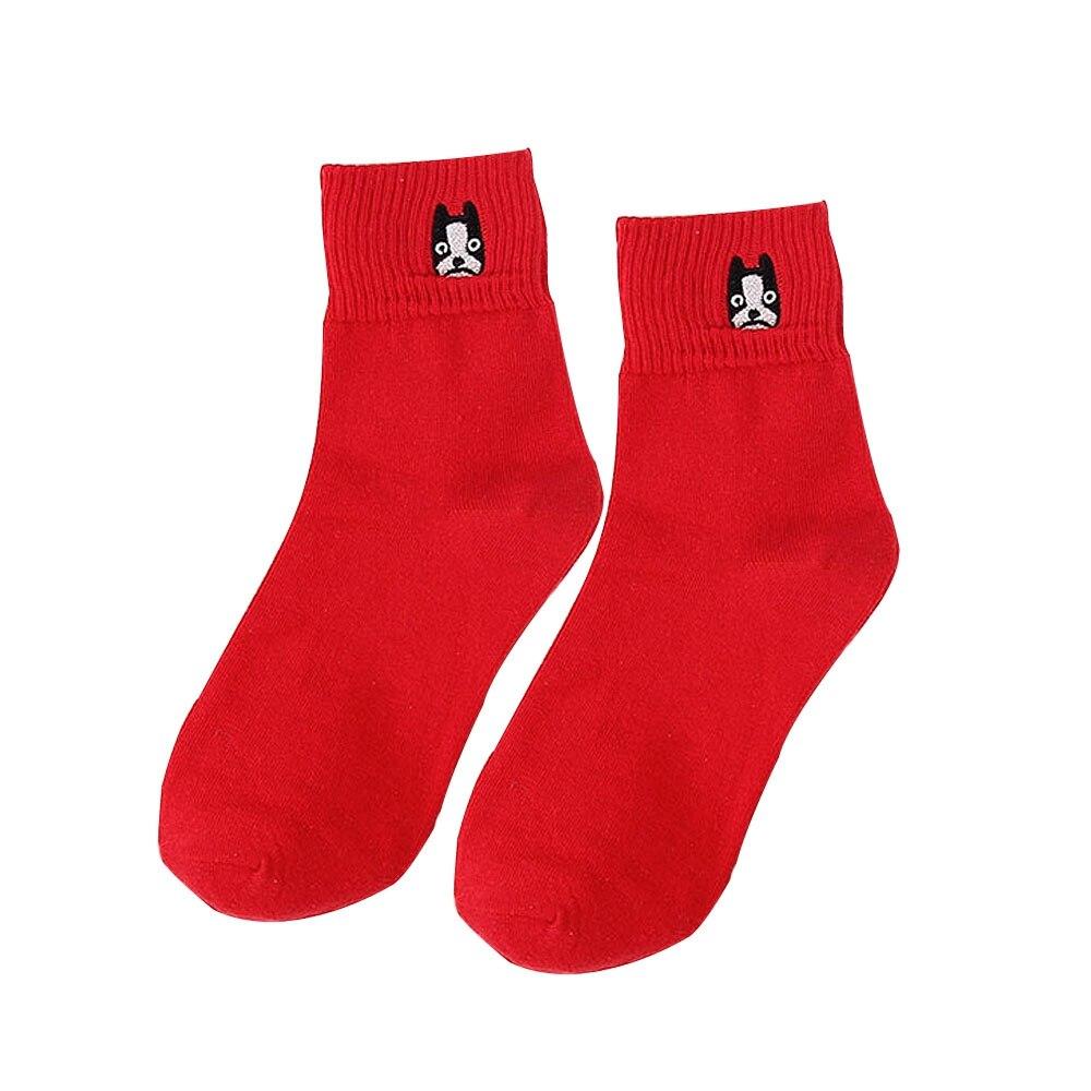 1 Para Frauen Fashion Bestickte Hund Mops Bulldog Winter Baumwolle Muster Socken Niedlichen Cartoon Tier Socke Weibliche Kurze Socken Weniger Teuer