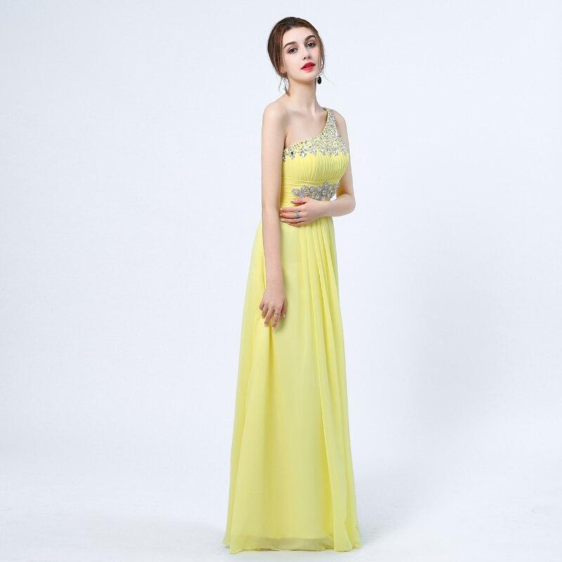 Ladybeauty 2018 Baru Elegant Satu Bahu A-Line Gaun Petang Panjang - Gaun acara khas - Foto 3