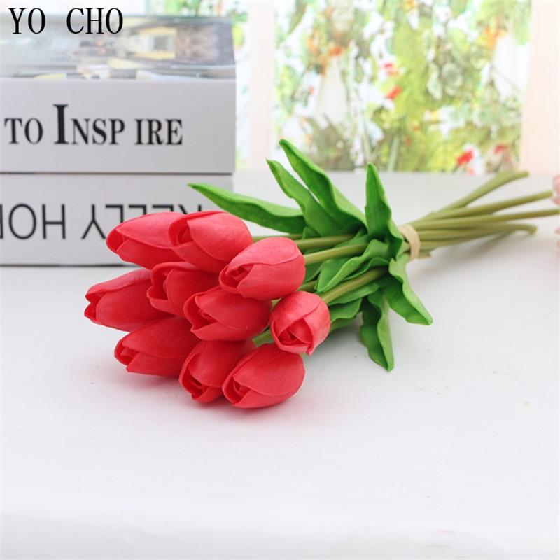 YO CHO 3 unids Mini Tulipanes Flores Artificiales PU Toque Real Flor - Para fiestas y celebraciones - foto 2