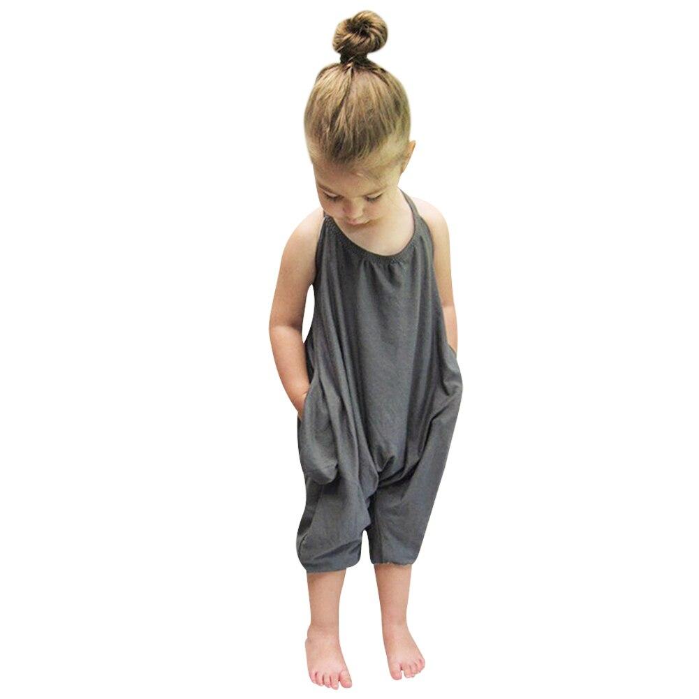 2017 Summer Kids Children Girls Jumpsuits Grey Overalls Jumpsuits Bodysuits Baby Girls Suspender ...