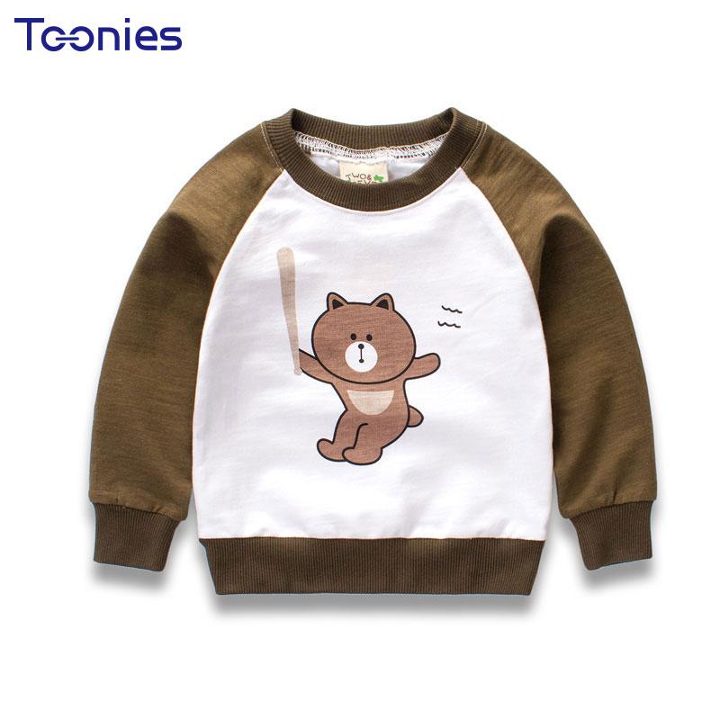 Long Sleeve Cartoon Bear Printed Cotton Tops Shirt Cute Kids Baby Boys Clothes