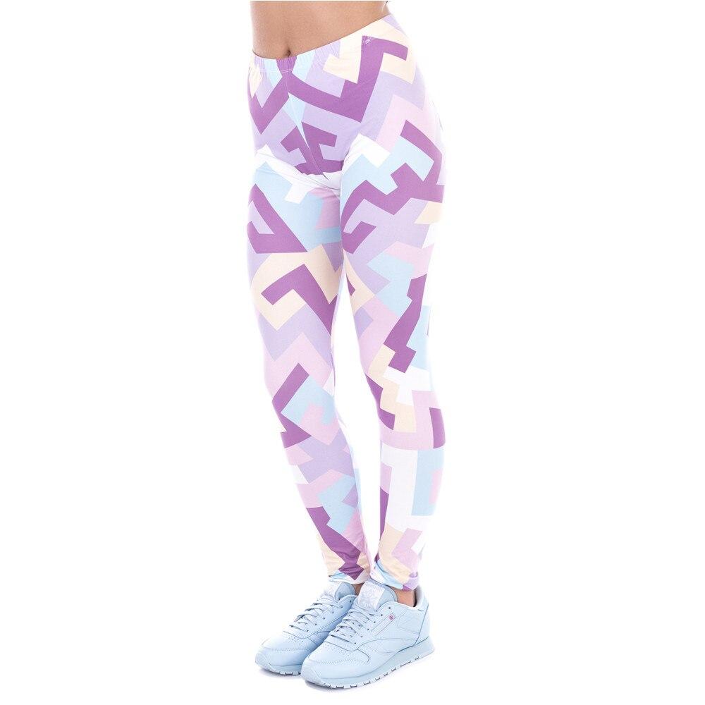 New Spring Women Legins Geometric Shapes Pink Printing Legging Fashion Elegant High Waist Woman Leggings