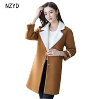 Autumn Winter Women Woolen Coat 2017 New Fashion High Quality Medium Long Jacket Lapel Collar Loose