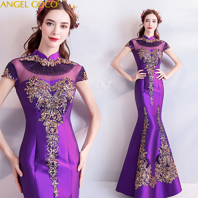 2019 Ladies' Purple Shiny Dinner Annual Meeting Satin mermaid Evening Dress Cheongsam Costume Great Gatsby Gown Qipao Wholesale