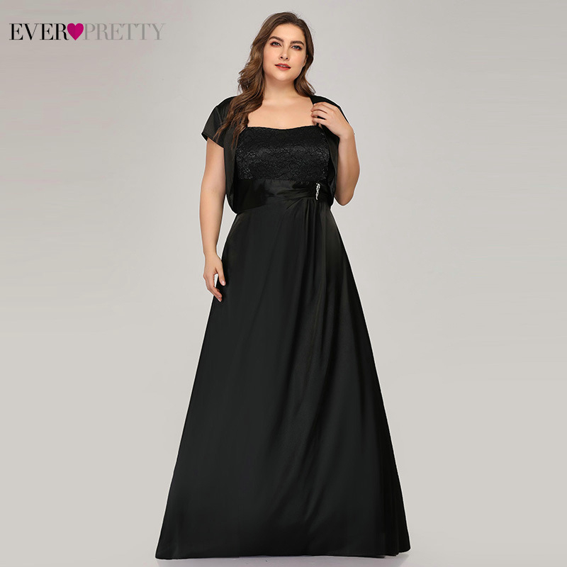 Plus Size Black Evening Dresses Long Ever Pretty Square Collar A-Line With Jacket Elegant Satin Formal Party Gown Robe De Soiree