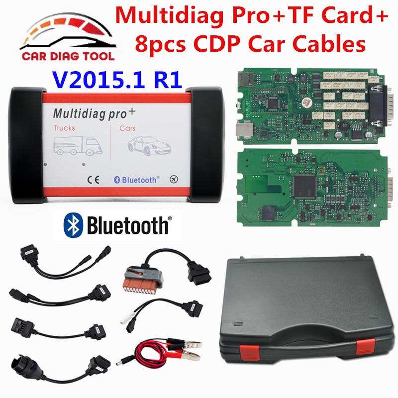Цена за 2017 Бесплатная доставка DHL зеленый одной печатной multidiag Pro + Bluetooth 2015.1 R1/2014. R2 TCS CDP PRO OBD2 сканер грузовик автомобиля диагностический инструмент