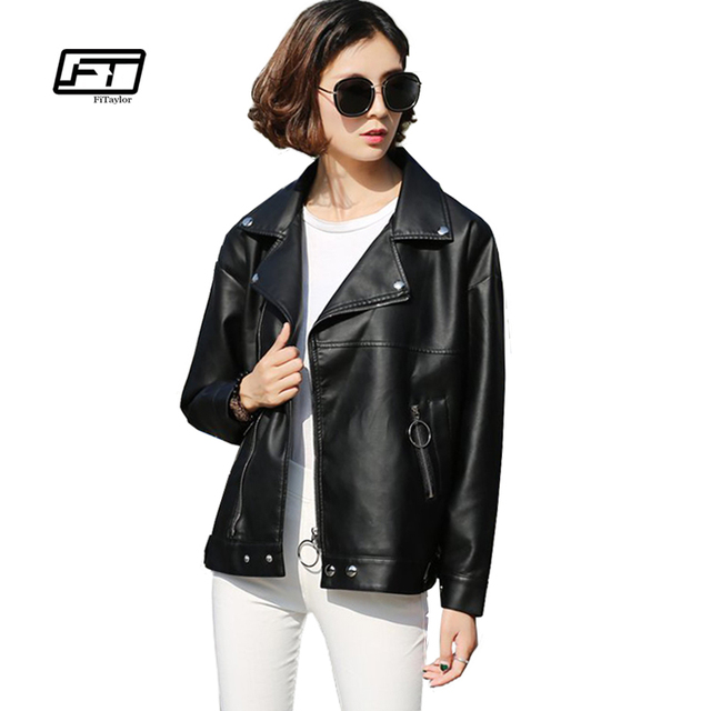 546c0d8a6a Fitaylor Women Faux Leather Jacket Patchwork Loose Fit BF Bomber Coat Soft  PU Pink Black White