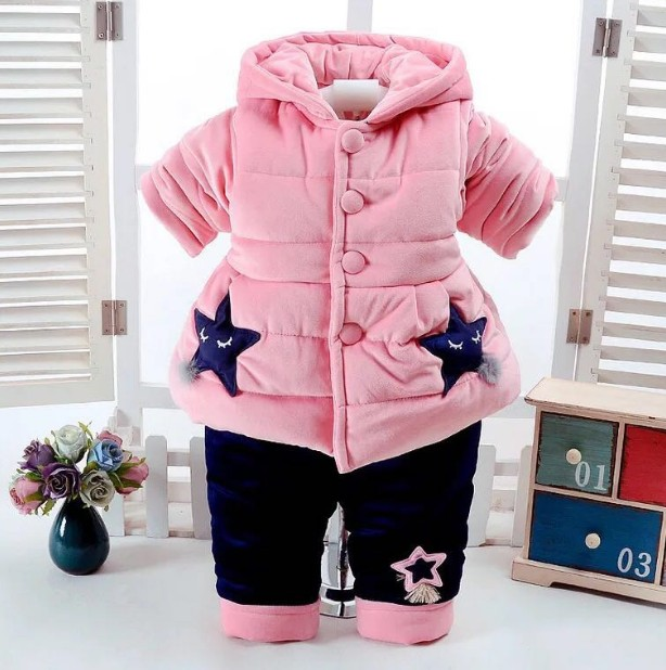 new 2017 winter baby girl cotton-padded thicken warm coat+pant clothing sets 2pcs baby girl comfortable warm winter suit tnlnzhyn winter new women clothing warm cotton coat fashion large size thicken long sleeve casual female cotton outerwear qq260