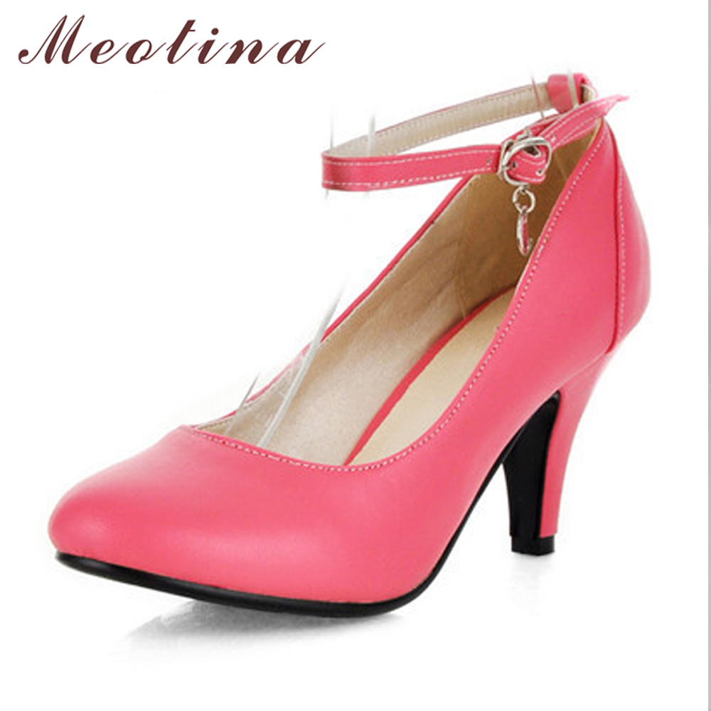Meotina Ladies Shoes Pointed Toe Pink Heels Women Shoes High Heels Ankle Strap Black Shoes Woman Discount Fashion Pumps Pink 10 meotina high heels shoes women pumps party shoes fashion thick high heels pointed toe flock ladies shoes gray plus size 10 40 43