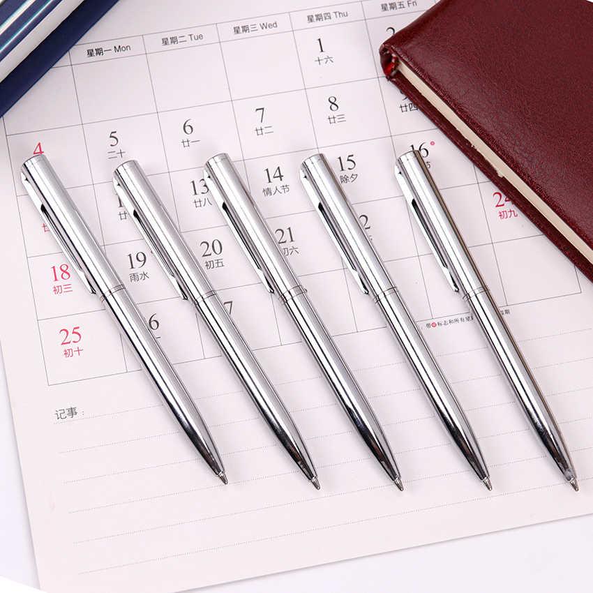 미니 금속 볼펜 회전 포켓 크기 펜 휴대용 작은 기름 볼펜 절묘한 간략한 사무실 학생 용품 1 pc