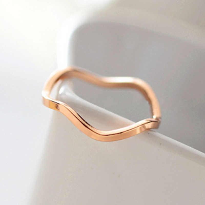 แฟชั่น Hot new ผสมขายส่ง 16 มม.สั้น Elegant คนรักแหวน Joint pinky แหวน TITANIUM แหวนทองแหวนสีผู้หญิง