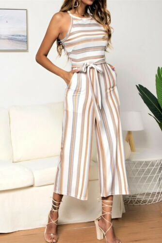 2019 Women Summer Striped Floral Wide Leg Holiday Jumpsuit Playsuit Culotte Brand New Women's Clothes For OL Office Ladies