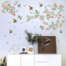 Large Pink Blossom Spring Flower Birds Wall Sticker Tree Branch Vines Butterfly Flying Decal PVC Floral Room Decor Posters