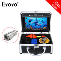 Eyoyo 30m Underwater Fishing Camera HD 1000TVL 7 Monitor Fish Finder 12pcs White LED Camera For