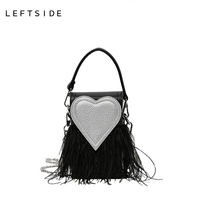 LEFTSIDE 2016 Women Handbag Designer Stylish Chain Crossbody PU Leather Handbags Ladies Hand Bags Red Heart