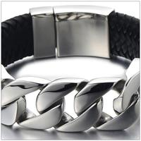 23cm*24mm New Heavy Jewelry 316L Stainless Steel Silver Smooth Chain And Black Genuine Leather Bracelets Bangles For Men Boy