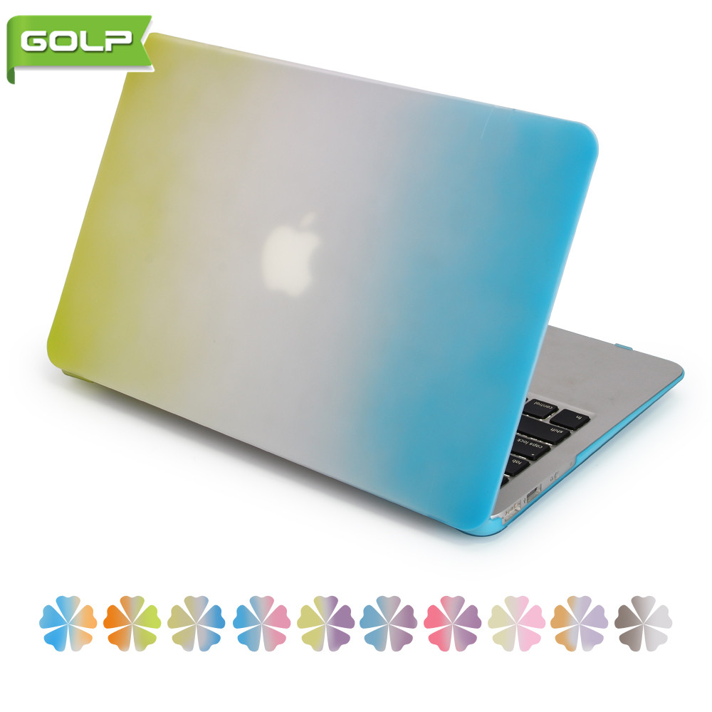 Cover & Case for Macbook Air 13.3, GOLP Fashion Two Rainbow Color Gradient Anti-slip Hard PC Protective Laptop Shell & Skin