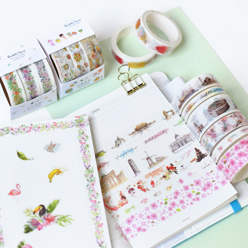 3 Pcs/pack Meet Summer Washi Tape Set DIY Decoration Scrapbooking Planner Masking Tape Adhesive Tape Label Sticker Stationery