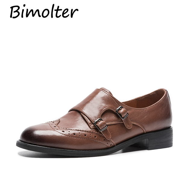Bimolter Sheepskin Brogue Shoes Woman Platform Oxfords British Style Creepers Cut-Outs Flat Casual Women Shoes Size 33-40 NA035