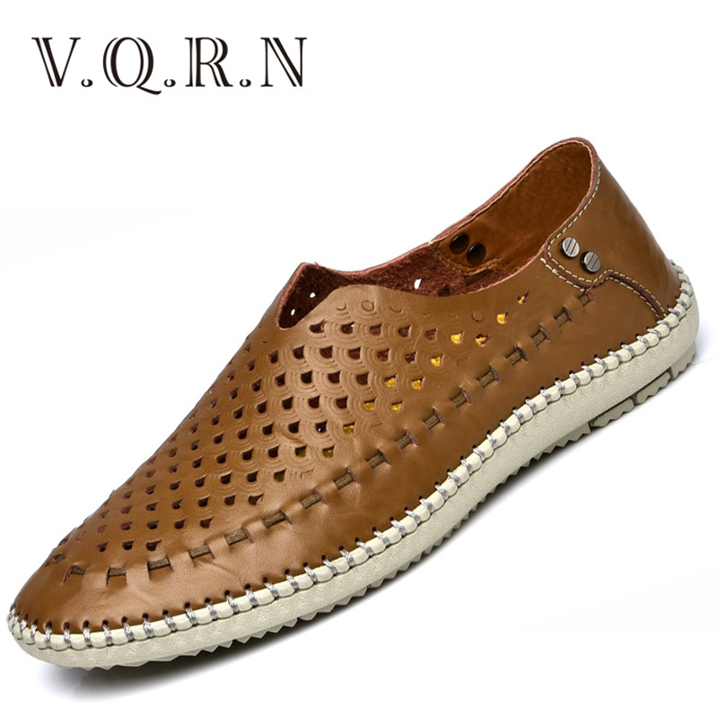 VQRN Breathable Loafers Men Shoes 2017 Summer Genuine Leather Shoes Mens Soft Hole Driving Shoes Male